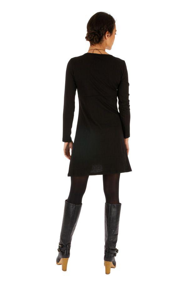Robe noire pour femme ethnique et imprimée Duékoué 314025