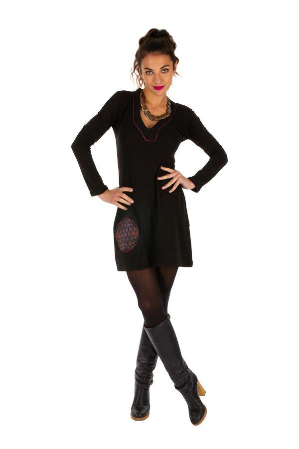 Robe noire pour femme très féminine et charmante Mirontsi 313917