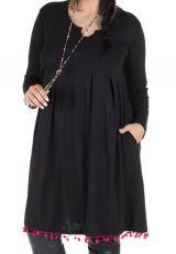 Robe noire unie avec col rond original Sauro 301245