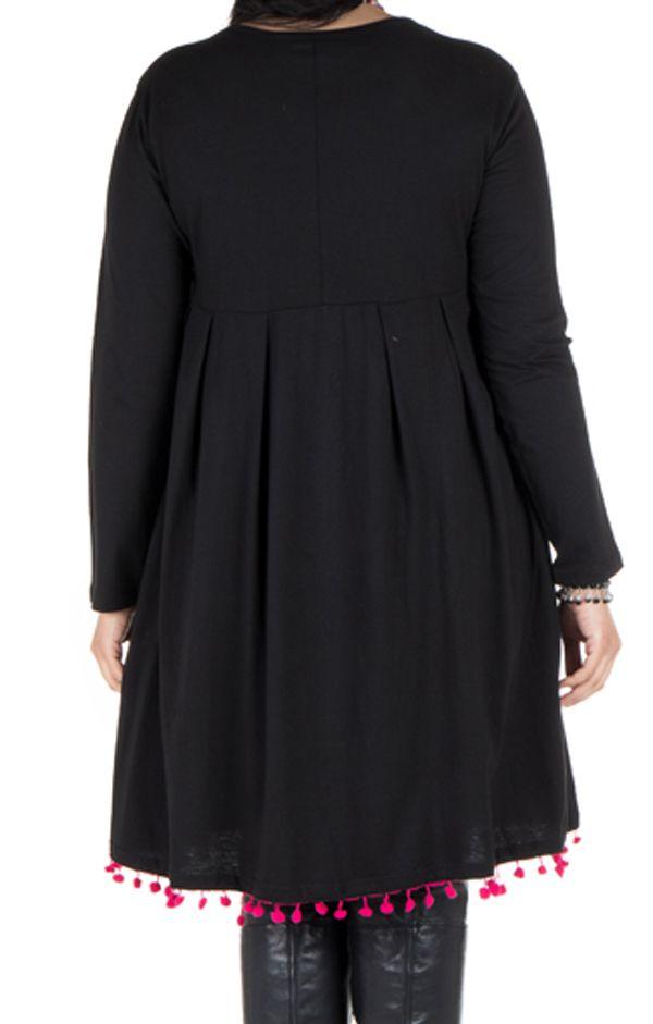 Robe noire unie avec col rond original Sauro 301251