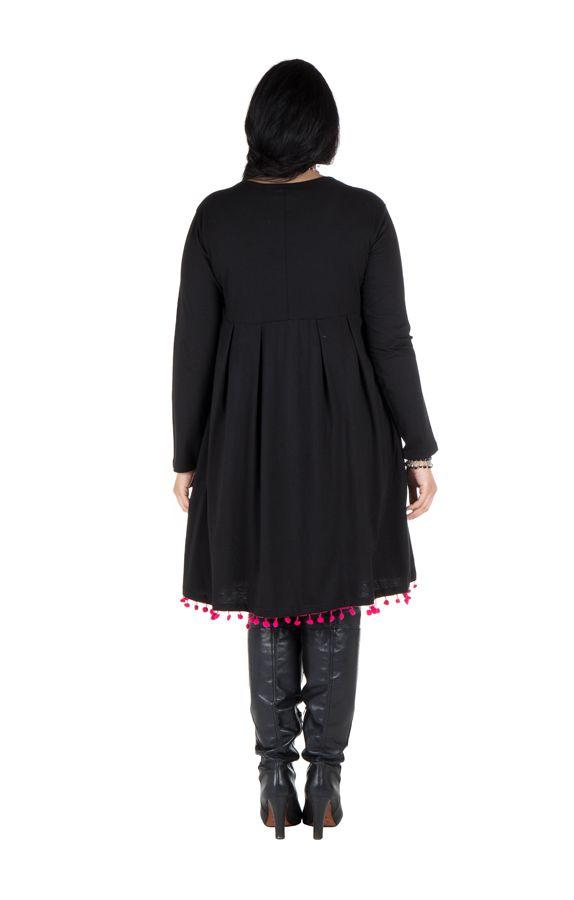 Robe noire unie avec col rond original Sauro 301252