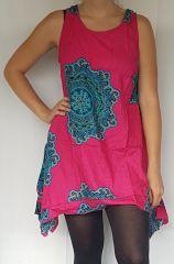 Robe originale à bretelles large et asymétrique kiba rose et bleue 302460