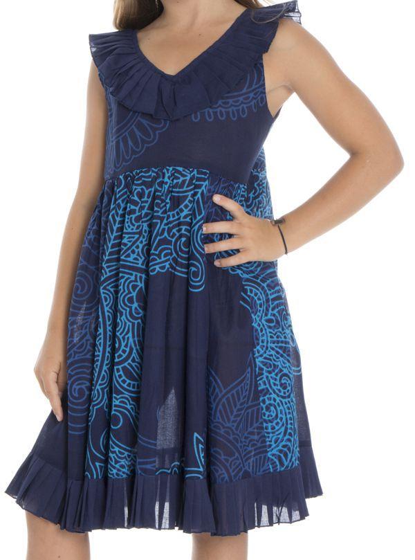 Robe originale à bretelles pour enfant avec imprimé bleue Coralie 294389