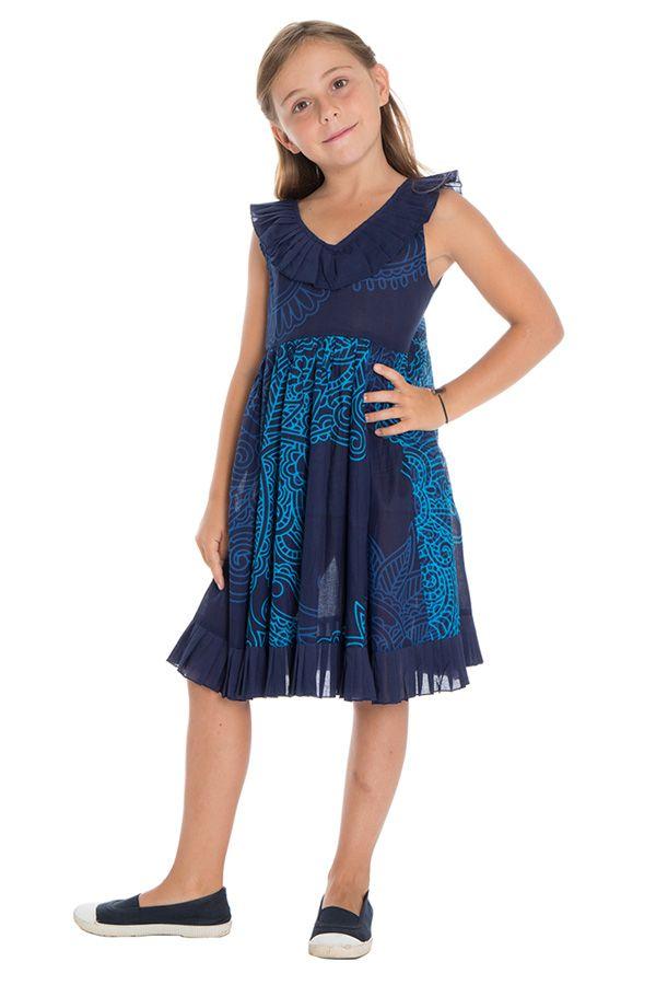 Robe originale à bretelles pour enfant avec imprimé bleue Coralie 294390