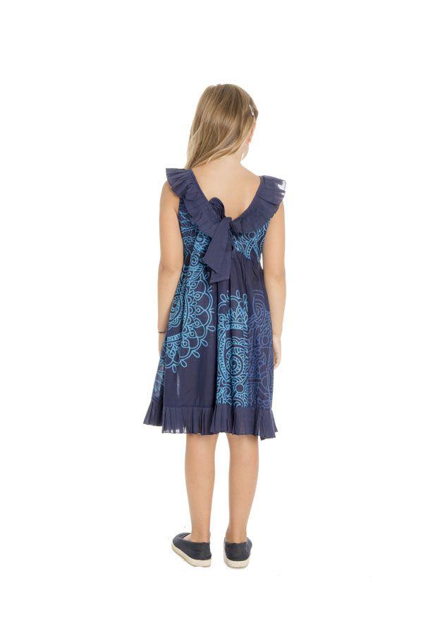 Robe originale à bretelles pour enfant avec imprimé bleue Coralie 294391