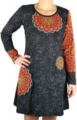 Robe originale à manches longues style ethnique Bathai 304536