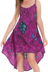 Robe originale asymétrique imprimés floraux violette Rika 280586
