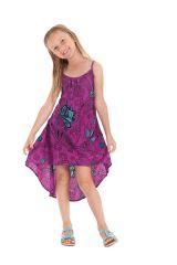 Robe originale asymétrique imprimés floraux violette Rika 280587