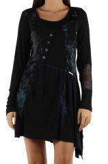 Robe originale avec un imprimé pas chère bleue Loumina 304364