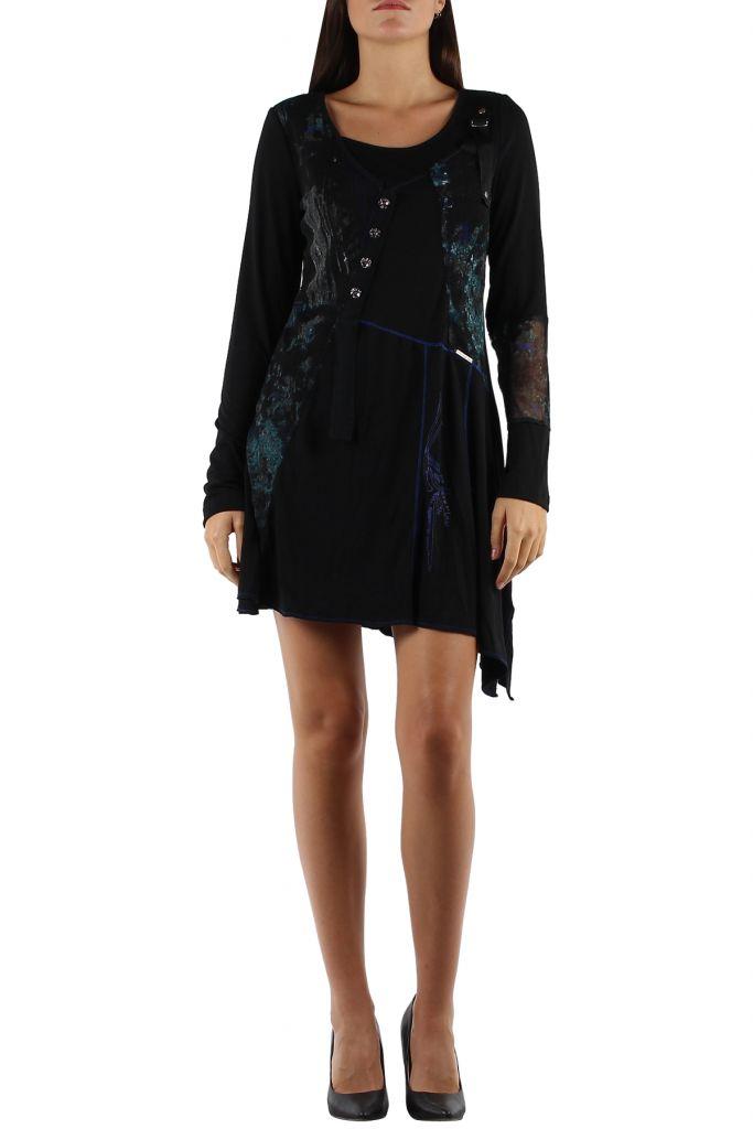 Robe originale avec un imprimé pas chère bleue Loumina 304365