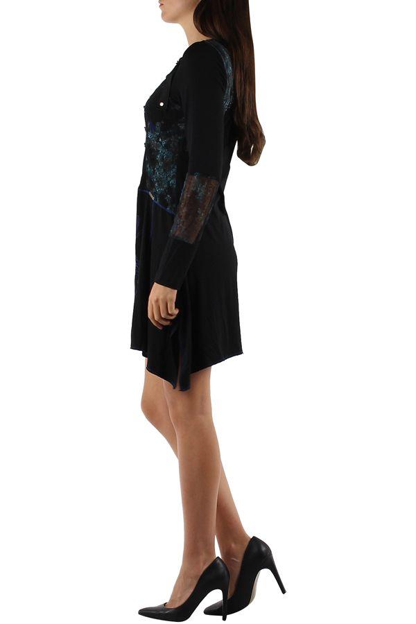 Robe originale avec un imprimé pas chère bleue Loumina 304366