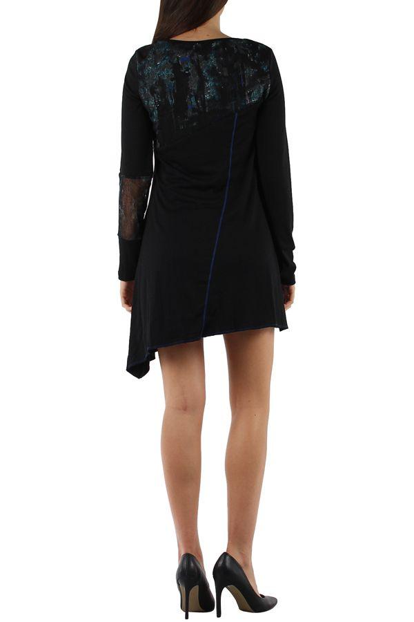 Robe originale avec un imprimé pas chère bleue Loumina 304367