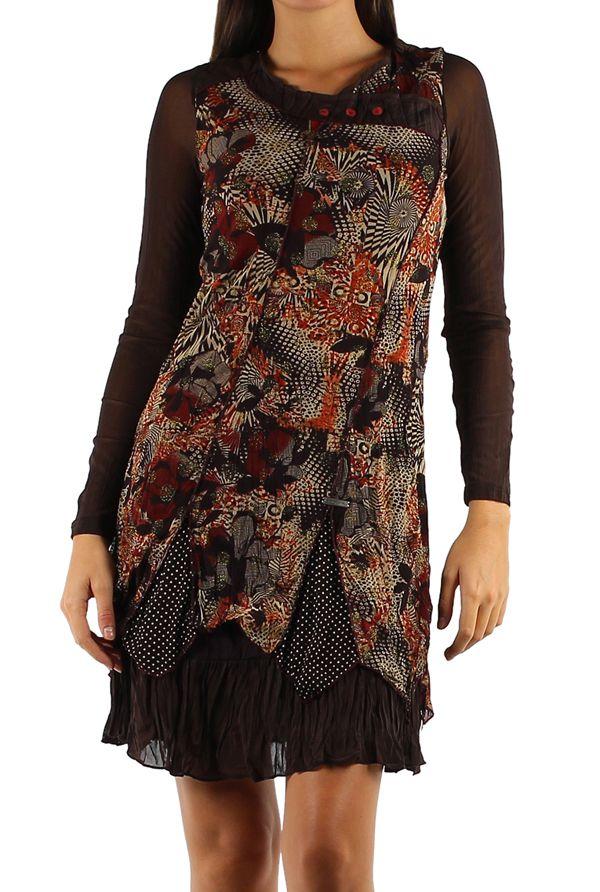 Robe originale avec une superposition de tissus Gila marron 304348