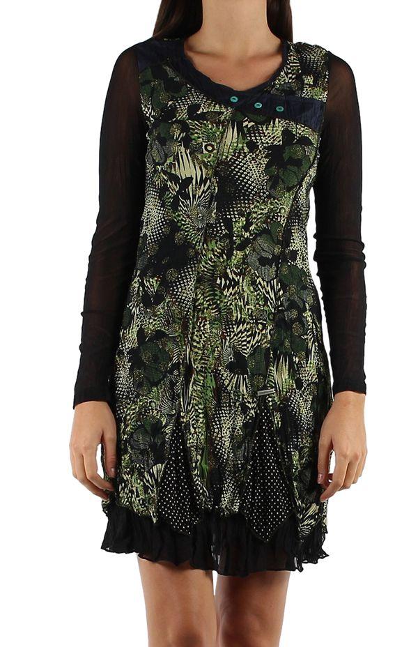 Robe originale avec une superposition de tissus Gila noire 304340