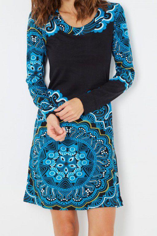 Robe originale bleue et noire imprimée arabesques rosace Yelena 287899