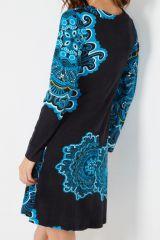Robe originale bleue et noire imprimée arabesques rosace Yelena 287900