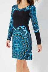 Robe originale bleue et noire imprimée arabesques rosace Yelena 287901