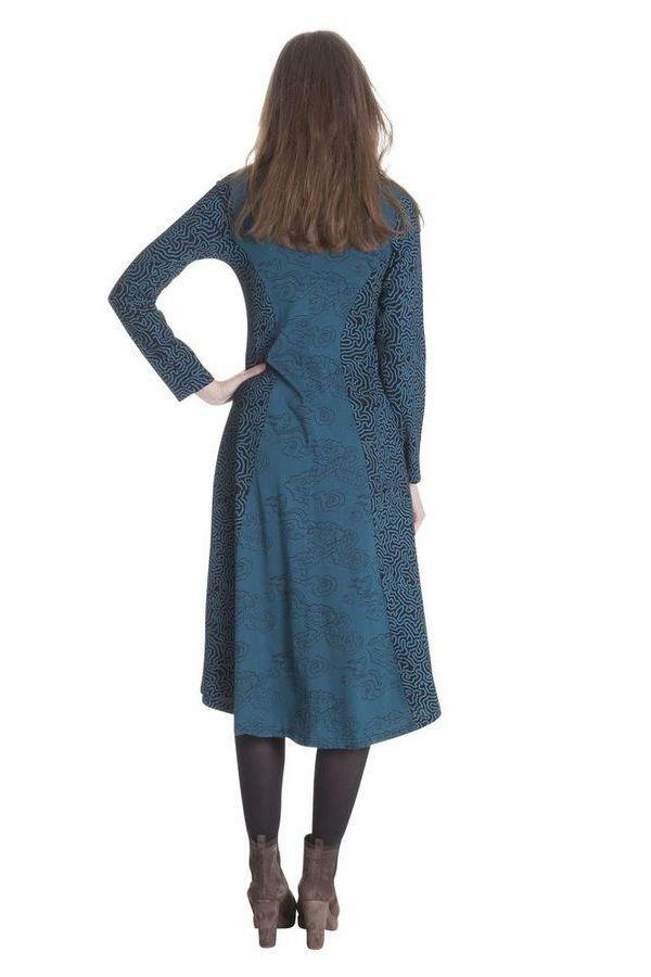 Robe Originale Bleue mi-longue Evasée esprit Bohème Krisna 285319