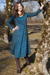 Robe Originale Bleue mi-longue Evasée esprit Bohème Krisna 285320