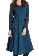 Robe Originale Bleue mi-longue Evasée esprit Bohème Krisna 286818