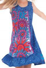 Robe Originale Bleue pour fille au col Collier Neptune 280172