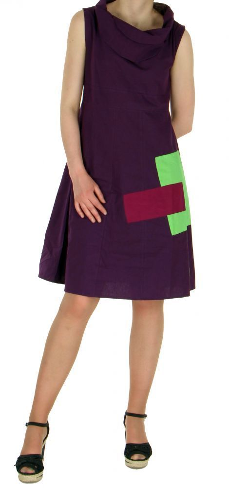 Robe originale col pétale violette 245181