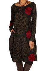 Robe originale coupe tulipe à manches longues en coton rouge et noire Rosita 300268