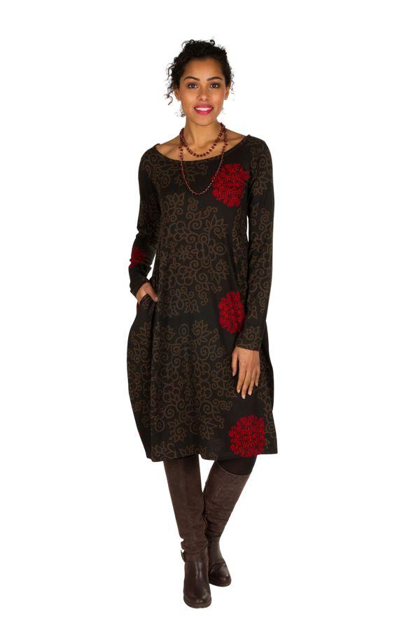 Robe originale coupe tulipe à manches longues en coton rouge et noire Rosita 300269