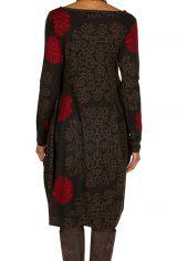 Robe originale coupe tulipe à manches longues en coton rouge et noire Rosita 300270