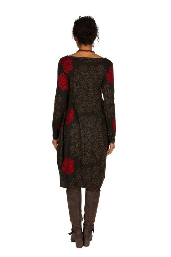 Robe originale coupe tulipe à manches longues en coton rouge et noire Rosita 300271