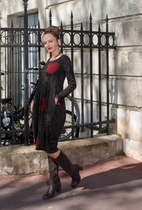 Robe originale coupe tulipe à manches longues en coton rouge et noire Rosita 300272