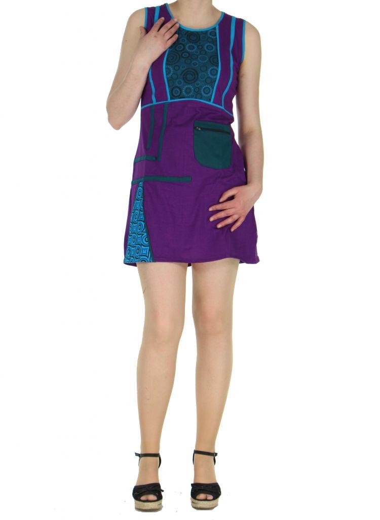Robe originale courte violette Tania 268365