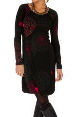Robe originale d'hiver à fond noir et imprimée Angeles 312670