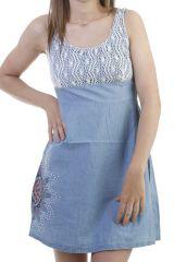Robe originale en jean avec empiecement blanc Erica 296683