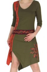 Robe Originale et Asymétrique à manches 3/4 Ethnique Stéphanie Kaki 283737