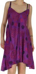 Robe Originale et Colorée Asymétrique Samka Violette 282376