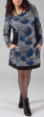 Robe Originale et Colorée pour femme Pulpeuse Halima Blanche et Grise 274771