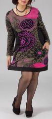 Robe Originale et Colorée pour femme Pulpeuse Halima Rose et Noire 274770