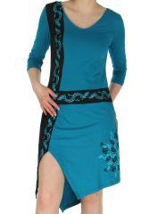 Robe Originale et Ethnique à manches 3/4 Stéphanie Bleue 283740