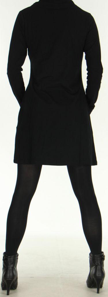 Robe Originale et Ethnique courte à manches longues Naveen Noire 275942