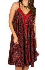 Robe Originale et Ethnique Mi-Longue Rouge Nayan 292127