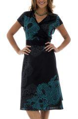 Robe Originale et Ethnique Noire coupe Portefeuille Alizée 292380