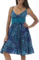 Robe Originale et Flashy féminine à fines bretelles Kalissa Bleue 292590
