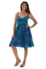 Robe Originale et Flashy féminine à fines bretelles Kalissa Bleue 292591