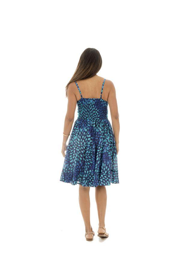 Robe Originale et Flashy féminine à fines bretelles Kalissa Bleue 292593