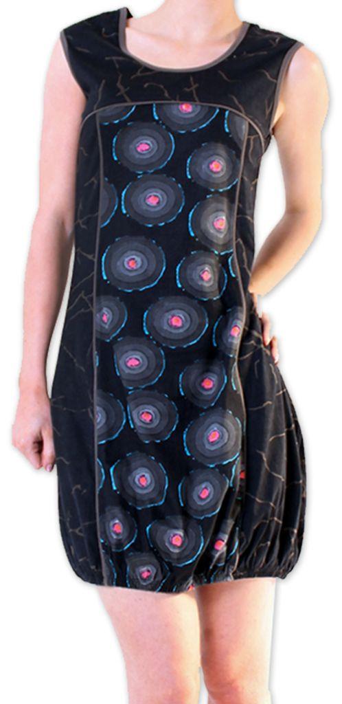Robe Originale et Imprimée courte pour l'été  Dounnia Noire 276917