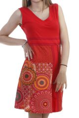 Robe originale et moderne avec imprimés colorés rouge Marty 296603