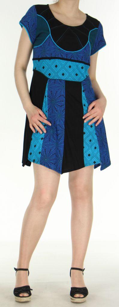 Robe originale et très colorée Bleue et Noire Amita 272402