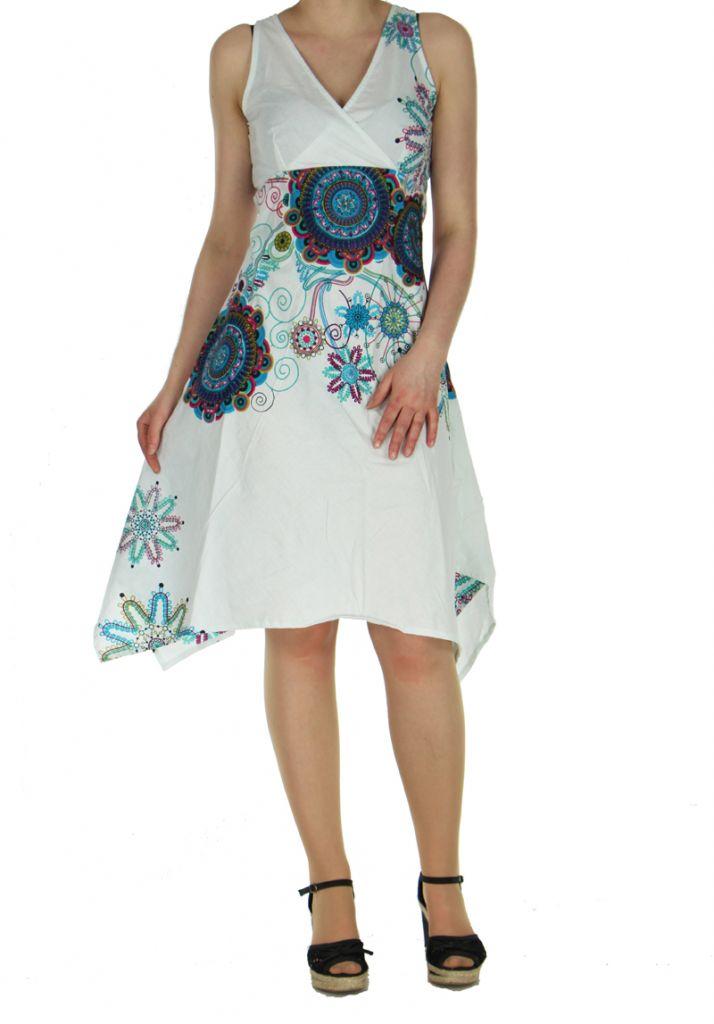Robe originale florale blanche Lisandre 269985