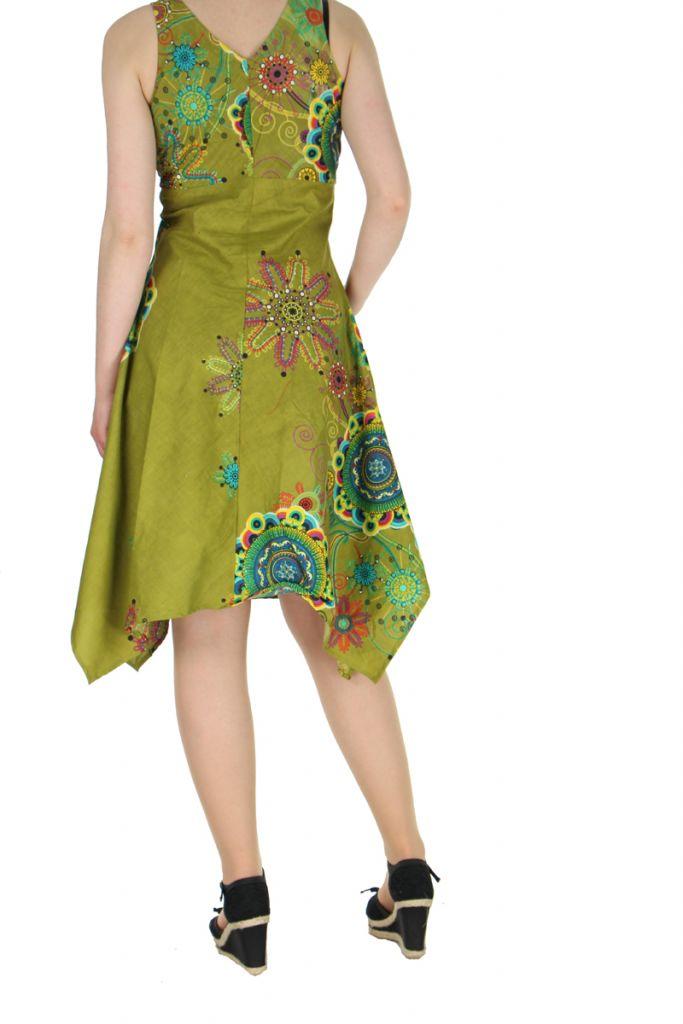 Robe originale florale kaki Lisandre 269972
